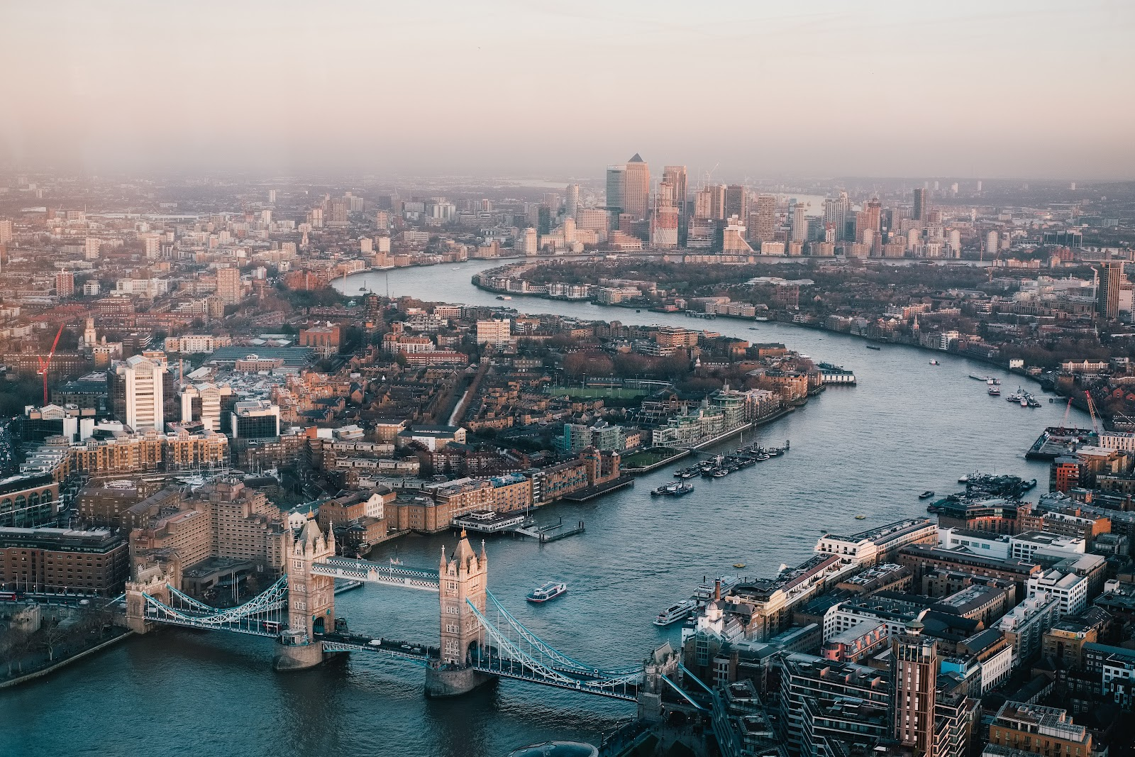 aerial view of expensive city london