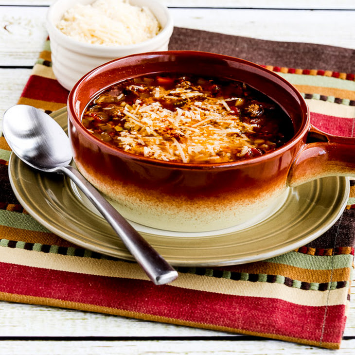Slow Cooker Zucchini e Fagioli Soup with Italian Sausage and Ground Beef
