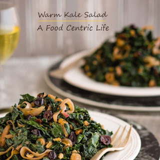 Warm Kale Salad with Dried Cranberries and Walnuts