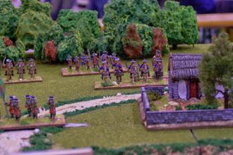 Photo: I dragoni irlandesi nei pressi del guado del mulino (miniature Donnington, materiale scenico autocostruito)