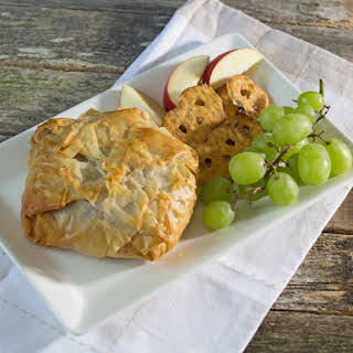 Phyllo Baked Brie with Fig Jam and Crushed Pecans.