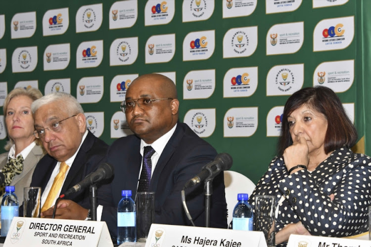 Mark Alexander (L) of Sascoc, Alex Moemi of SRSA, Hajeera Kajee of Sascoc during the South African Sports Confederation and Olympic Committee's (SASCOC) Annual General Meeting at Olympic House on February 10, 2018 in Johannesburg, South Africa. After the meeting, Gideon Sam, Sascoc president handed more than 400 pages in at the Rosebank Police Station in the body's complaint against the three senior employees who were fired last month.