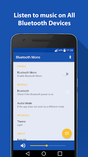 Bluetooth Mono Media app for Android screenshot