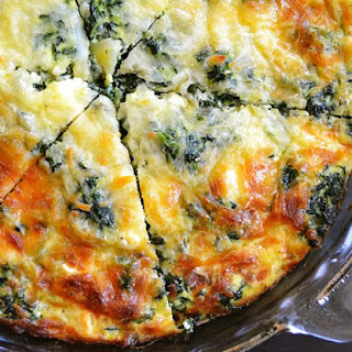 Spinach Mushroom and Feta Crustless Quiche.