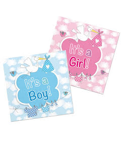 Servetter, baby shower boy/girl