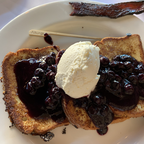 Delicious gf blueberry French toast. Wonderful! Feel great!
