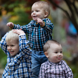 All in Smiles  by Janice Mcgregor - People Family ( play, canon photography, contest, expression, smiles, innocent, children portrait, outdoor photography, portrait, grand-babies, canon, children, kids portrait, bokeh, family, plaid, children photography,  )