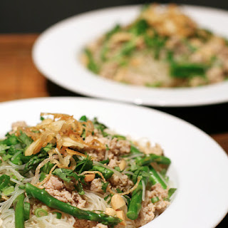Thai Noodles with Ground Chicken and Crispy Shallots.