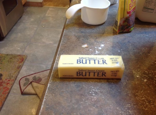 Add the softened butter,  buttermilk, egg, & bacon bits. Then blend with hand...