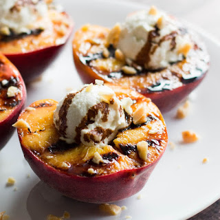 Grilled Peaches with Whipped Goat Cheese & Balsamic Syrup