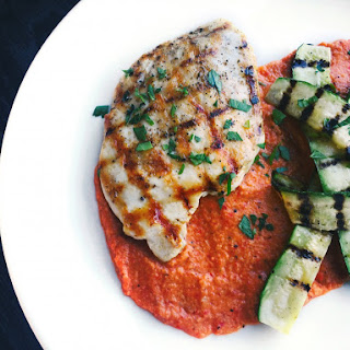 Grilled Chicken and Zucchini With Romesco Sauce.