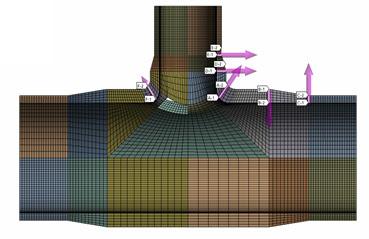 ANSYS - Пути в модели, выбранные для оценки линеаризованных напряжений