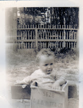 Photo: Like every other kid, Fr. Jim was more interested in playing with the box than the actual gift.  1939