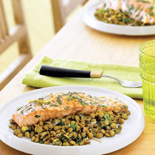 Salmon with Lentils and Orange-Basil Dressing
