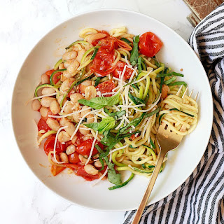 Zucchini Noodles with Roasted Cherry Tomatoes.