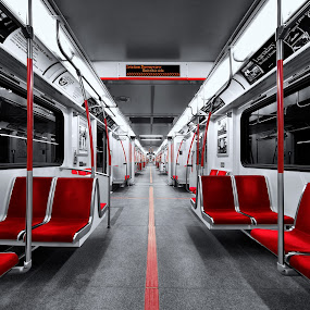 The New Subway Train in Toronto by Roland Shanidze - Transportation Trains ( ttc< the new subway train in toronto, selective colour, red, hdr, roland shainidze, perspective, symmetry )