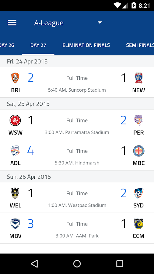 A-League Live 2014/2015- screenshot