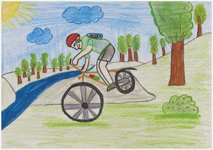 """Photo: praca Sebastiana""""Jeżdżę na rowerze, bo lubię, dotleniam się i sprawia mi to przyjemność"""""""