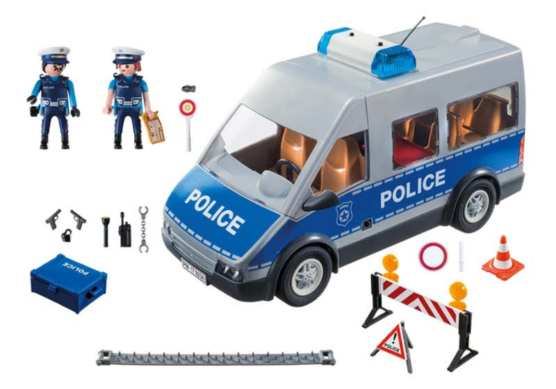Contenido real de Playmobil® 9236 Furgón de Policía con Control de Tráfico
