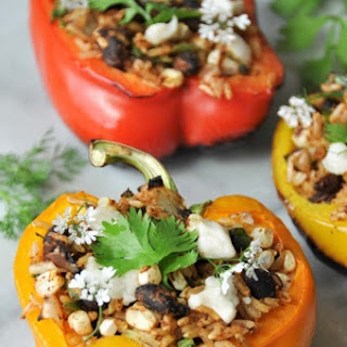 Grilled Vegan Dirty Rice Stuffed Peppers.