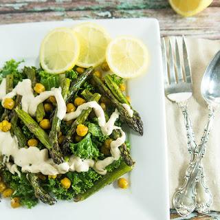 Asparagus Chickpea Salad with Tahini Dressing.