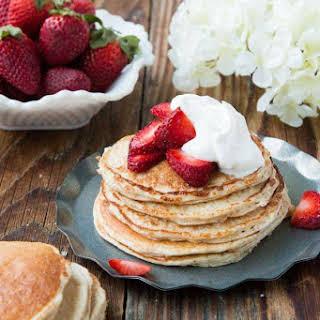 Skinny Strawberry Shortcake Gluten Free Pancakes.