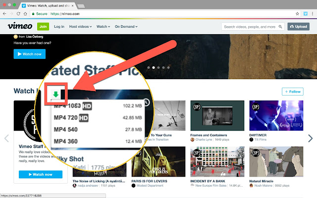 Vimeo video downloader chrome web store download videos from vimeo in just one click supports all available video qualities for vimeo 240p 380p 480p 720p 1080p stopboris Image collections