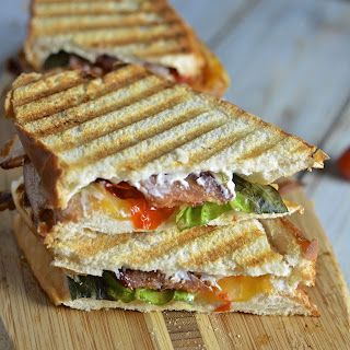 Creamy Roasted Tomato Basil Grilled Cheese with Bacon.