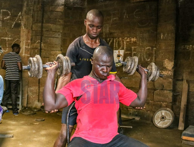 Mathare resident in the gym on May 26, 2020.