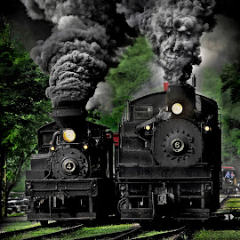 Smile  by Chuck  Gordon  - Transportation Trains ( cass, shay, train, smile, smoke, steam )