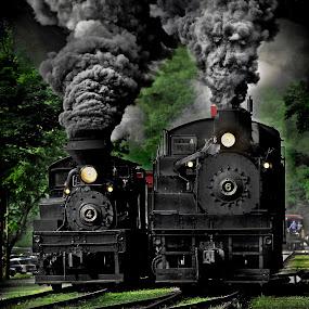 Smile  by Chuck  Gordon  - Transportation Trains ( cass, shay, train, smile, smoke, steam )