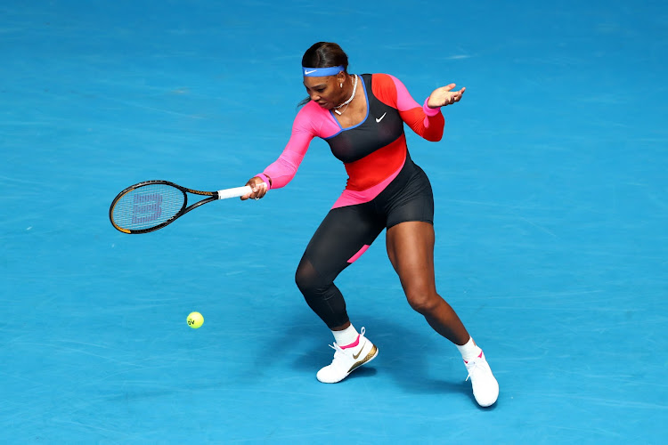 Serena Williams in action during her Australian Open first round match against Germany's Laura Siegemund at Melbourne Park on February 8, 2021.