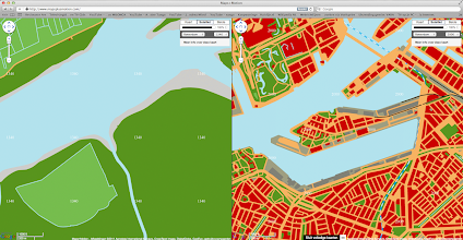 Photo: [2011 ©-project Mapping History van Museum Rotterdam en Maps+Motion] - http://www.museumrotterdam.nl en http://www.mapsplusmotion.com - click op laatstgenoemde site op 'Toon de kaarten' en stel de stad en de jaartallen in - op voorliggende foto staat de vergelijking tussen het Katendrecht (of beter: toen nog Riderwairt en sinds 1199 ook wel Cathendrecht of Cattendrecht genoemd) van 1340 (het lichtgroene gebied, dat al omstreeks 1200 van waterkeringen voorzien was) en 2000 - de bedoeling van Stichting Historisch Katendrecht is dat ook de andere voor Katendrecht belangrijke perioden zullen worden toegevoegd en zo mogelijk ook dat op perceelniveau informatie opgevraagd kan worden.