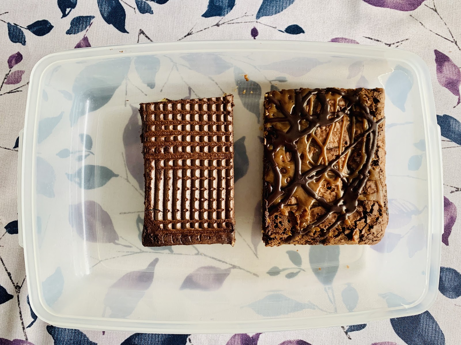 Container with two slabs of brownies.