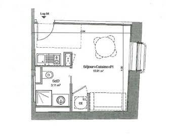 Studio 19,02 m2