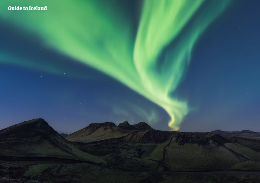 Northern Lights over the mountain in Iceland