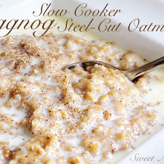 Overnight Slow Cooker Eggnog Steel-cut Oatmeal
