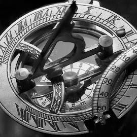 Sundial Compass by Joe Saladino - Black & White Objects & Still Life ( sundial compass, compass, monochrome, timepiece, still life, black and white, object )