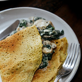 Savoury Chickpea Crepes with Creamy Mushrooms & Spinach + GIVEAWAY Recipe