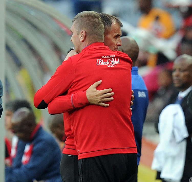 Orlando Pirates coach Milutin Sredojevic celebrates their victory during the Absa Premiership match against Free State Stars in Johannesburg, May 12 2018. Picture: GALLO IMAGES