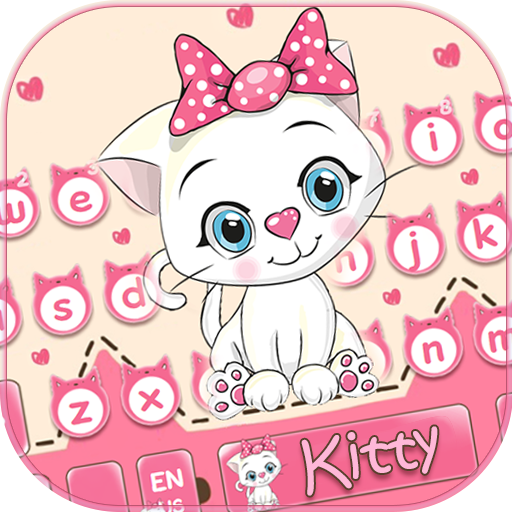 Cute Kitty Pink Bow Keyboard Theme