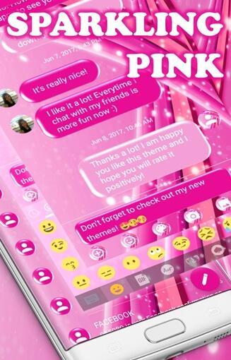 SMS Messages Sparkling Pink Theme 5.0 screenshots 5
