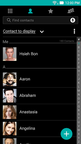 android ASUS Contacts Theme - Dark Screenshot 1