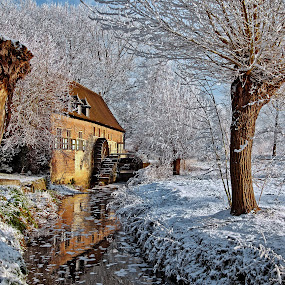 old mill in winterscape by Ghislain Vancampenhoudt - Landscapes Travel ( winter, old mill, creek )