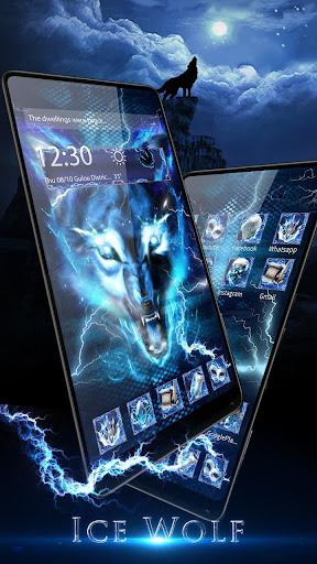 3D blue fire Ice wolf launcher theme 1.2.4 screenshots 1
