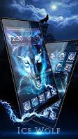 screenshot of 3D blue fire Ice wolf launcher theme