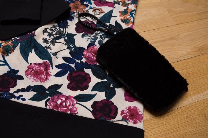 Floral dress and black handbag