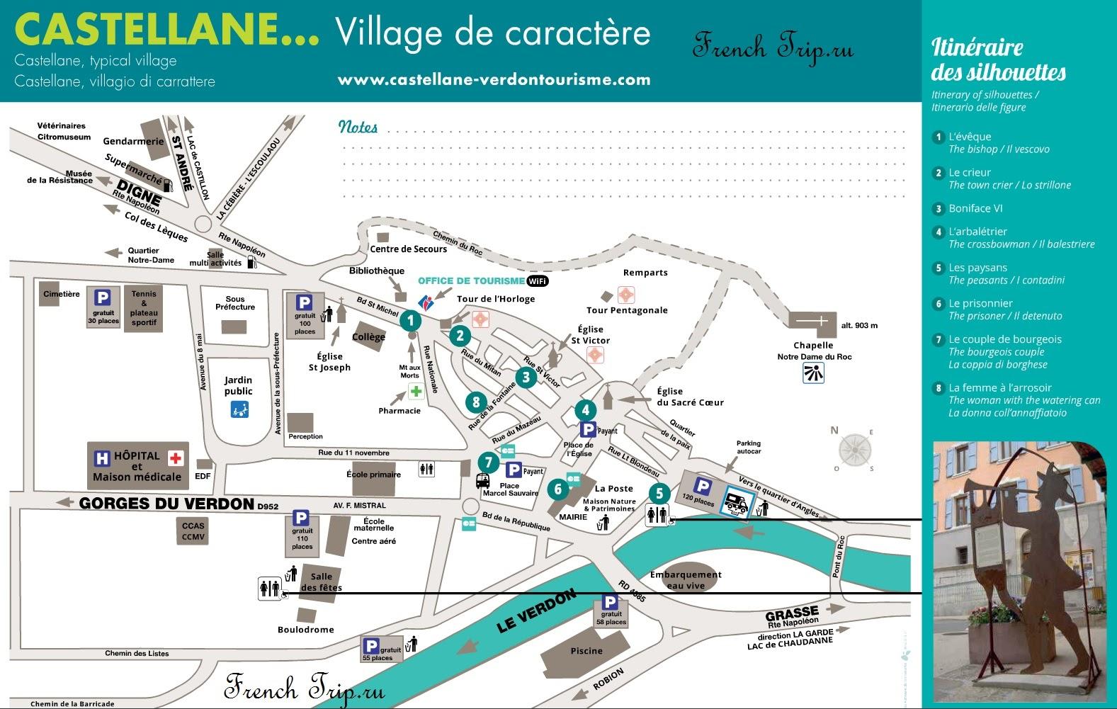 Castellane (Кастеллан) - туристический маршрут по городу, карта Кастеллане с достопримечательностями. что посмотреть в Кастеллане