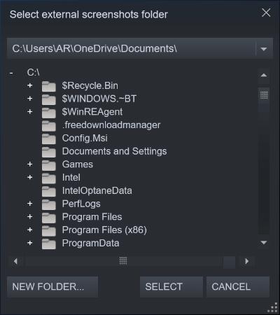 external screenshots folder