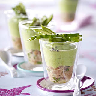 Salmon Tartare with Asparagus Mousse.
